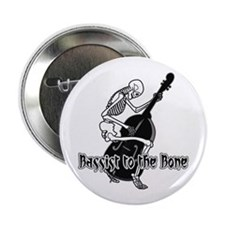 "Black Skeleton Bassist 2.25"" Button (10 pack)"