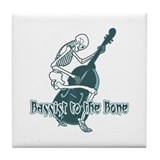 Blue Skeleton Bassist Tile Coaster