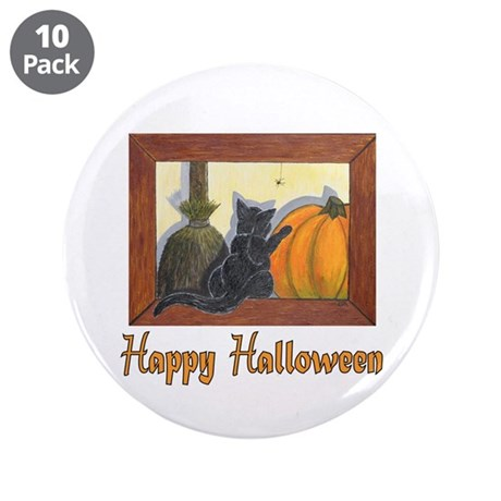 "Halloween Cat with ""Happy Hal 3.5"" Button (10 pack"