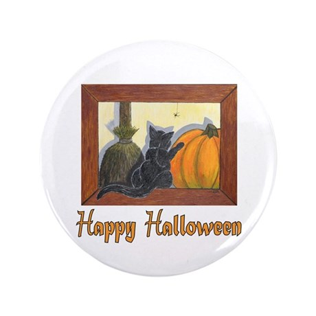 "Halloween Cat with ""Happy Hal 3.5"" Button"