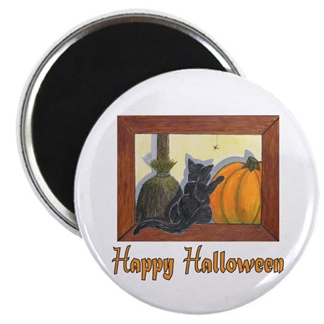 "Halloween Cat with ""Happy Hal Magnet"