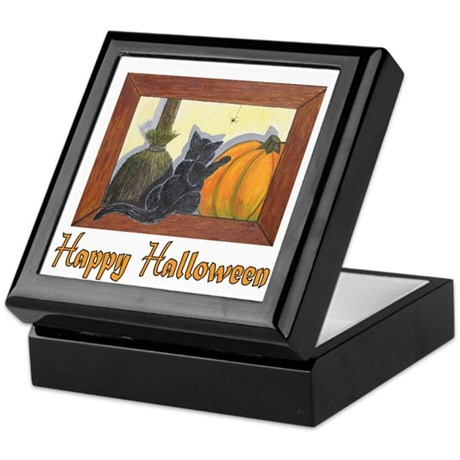 "Halloween Cat with ""Happy Hal Keepsake Box"