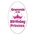 Grammie 1st Birthday Princess Oval Sticker