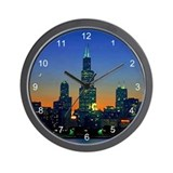 Chicago Framed In Sunset Wall Clock