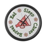 Eat Sleep Cheer Large Wall Clock