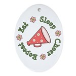 Eat Sleep Cheer Oval Ornament