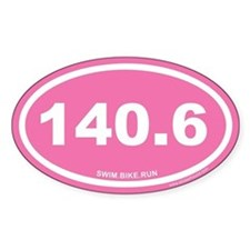 140.6 Swim Bike Run Irongirl Pink Oval Decal