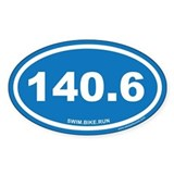 140.6 Swim Bike Run Ironman Blue Oval Decal