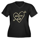 Meghan & Mike Heart Women's Plus Size V-Neck Dark
