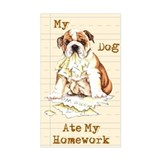 Bulldog Ate Homework Rectangle Decal