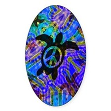 Peace Turtles Oval Decal