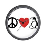 peace love linux Wall Clock
