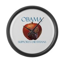 Obama Supports Dietitians Large Wall Clock