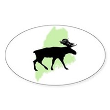 Go Green Maine Moose Oval Decal