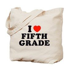 I Heart/Love Fifth Grade Tote Bag