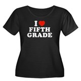 I Heart/Love Fifth Grade Women's Plus Size Scoop N