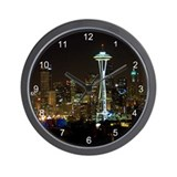 Seattle at Night Wall Clock