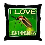 I Love Lightningbugs Throw Pillow