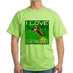 I Love Lightningbugs Green T-Shirt