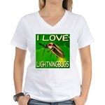 I Love Lightningbugs Women's V-Neck T-Shirt