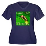 Save The Firefly Women's Plus Size V-Neck Dark T-S