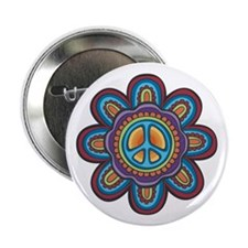"Hippie Peace Flower 2.25"" Button (10 pack)"