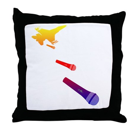 Microphone Bomber Throw Pillow