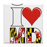 i love md Tile Coaster