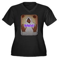 WWYD Women's Plus Size V-Neck Dark T-Shirt