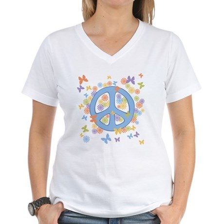 Peace & Butterflies Women's V-Neck T-Shirt