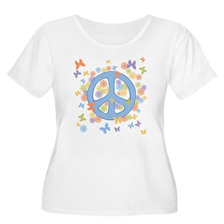 Peace & Butterflies Women's Plus Size Scoop Neck T