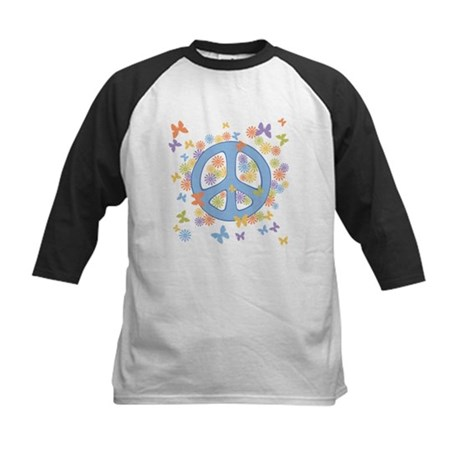 Peace & Butterflies Kids Baseball Jersey