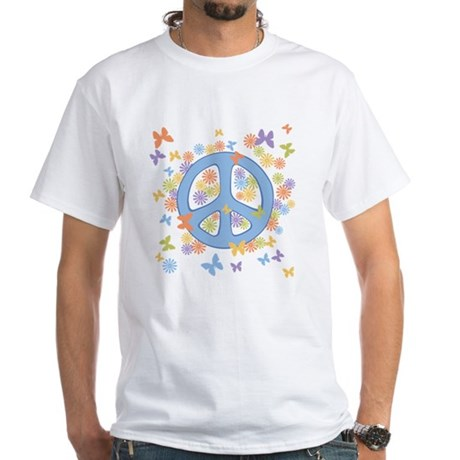 Peace & Butterflies White T-Shirt