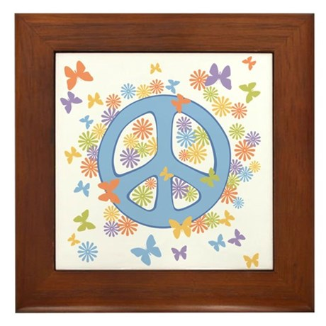 Peace & Butterflies Framed Tile
