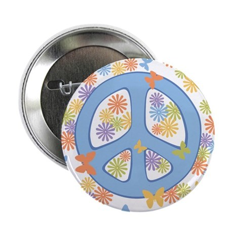 "Peace & Butterflies 2.25"" Button"