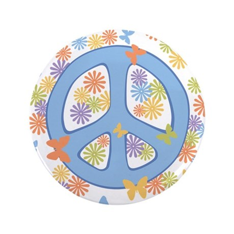 "Peace & Butterflies 3.5"" Button"