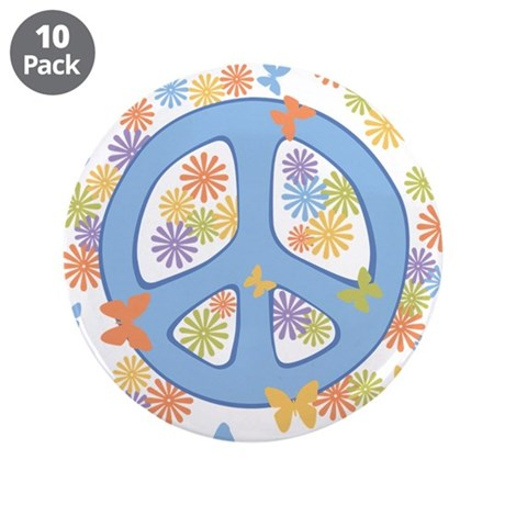 "Peace & Butterflies 3.5"" Button (10 pack)"