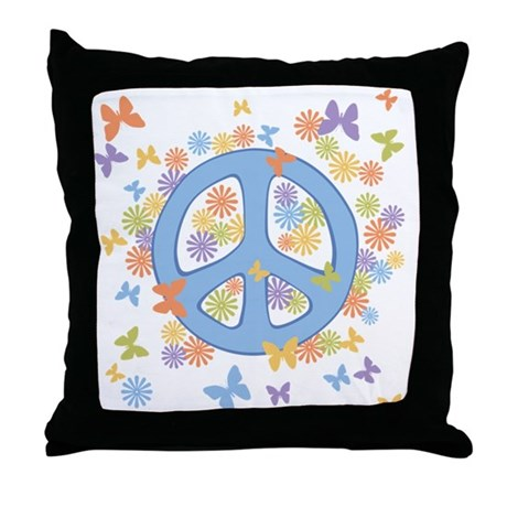 Peace & Butterflies Throw Pillow