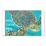 Save Turtle Rectangle Decal