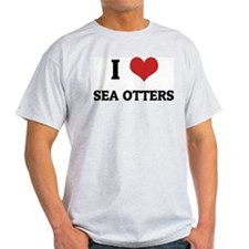 I Love Sea Otters Ash Grey T-Shirt