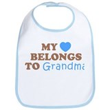 My Heart Belongs To Grandma (Blue/Brown) Bib