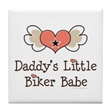 Daddy's Little Biker Babe Tile Coaster