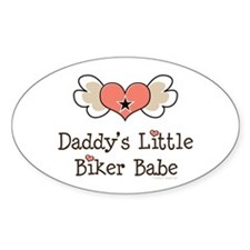 Daddy's Little Biker Babe Oval Decal