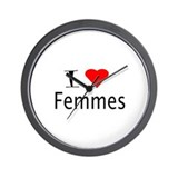 I Love Heart Femmes Wall Clock