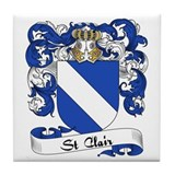 St. Clair Family Crest Tile Coaster
