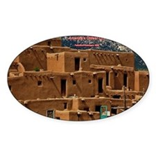 Taos Pueblo Oval Sticker (50 pk)