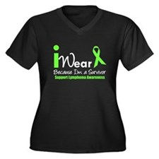 Lymphoma Survivor Women's Plus Size V-Neck Dark T-