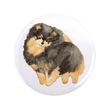 "Blk. & Tan Pomeranian Fullbod 3.5"" Button"