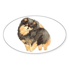 Blk. & Tan Pomeranian Fullbod Oval Sticker (50 pk)