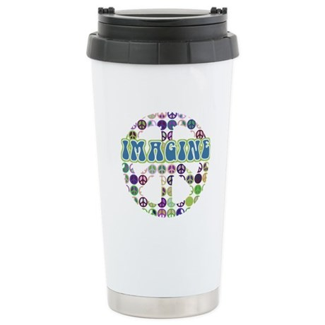 Retro Peace Sign Imagine Ceramic Travel Mug